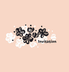 Flowers hand drawn color invitation template vector