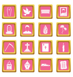Funeral icons pink vector