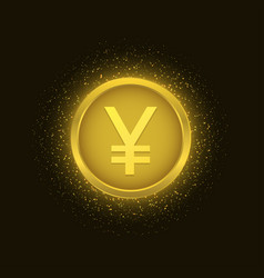 Golden yen coin vector