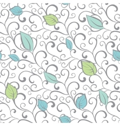 Gray Green Blue Swirl Branches Leaves vector