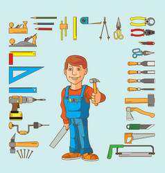 Handyman and set hand tools for productive work vector