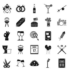 happening icons set simple style vector image