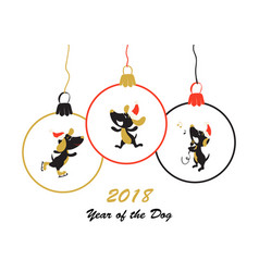 happy new year 2018 year of the dog card vector image