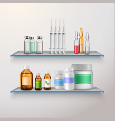 healthcare product shelves composition vector image