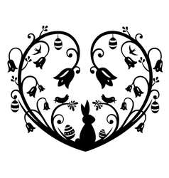 Heart Silhouette with bunny vector
