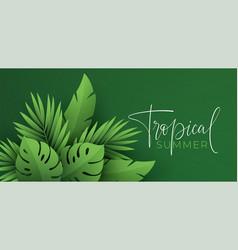 hello summer banner paper-cut green tropical vector image