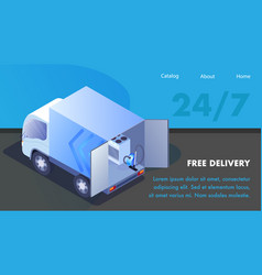 Household appliances website isometric template vector