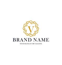 Initial letter v luxury ornament logo design vector