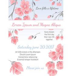 invitation wedding card with sakura flowers vector image vector image