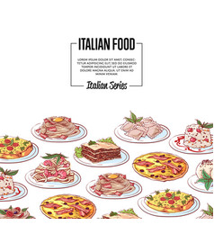 italian food poster with national cuisine dishes vector image