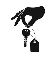 Key with a key ring in his hand e-commerce single vector