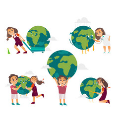 kids hugging holding playing with globe earth vector image