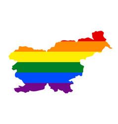 Lgbt flag map of slovenia rainbow map of slovenia vector