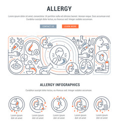 Linear banner allergy vector