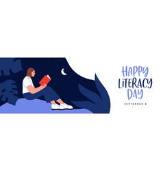 Literacy day web banner girl reading book island vector