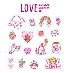 Love awesome sticker set vector