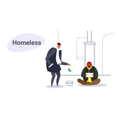 Man giving money to poor guy sitting on street vector