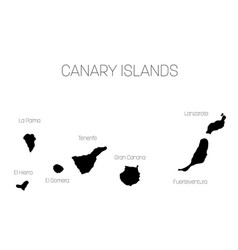 map of canary islands spain with labels of each vector image