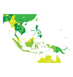 Map of southeast asia map in shades of vector