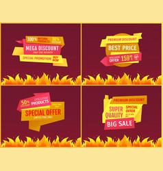 mega sale offers on geometric shape shopping label vector image