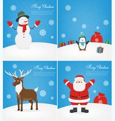 merry christmas greeting cards set christmas vector image