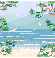 nature scene with sea mountains pine branches vector image