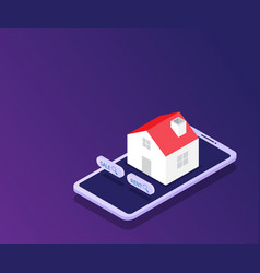 online real estate house on smartphone vector image