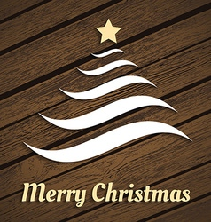 Original Christmas tree from waves on wood vector image
