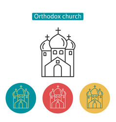orthodox church building outline icons set vector image