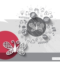 Paper and hand drawn butterfly emblem with icons vector image
