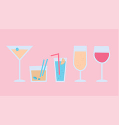 Pastel cocktails vector