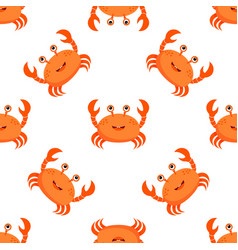 pattern with cartoon crabs isolated on white vector image
