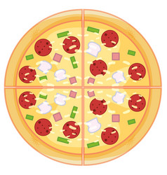 pepperoni pizza on white background vector image