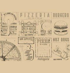 placemat for pizzeria and fast food vector image