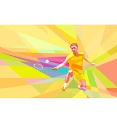 Polygonal badminton player on yellow low poly vector image