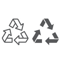 recycle line and glyph icon ecology protection vector image