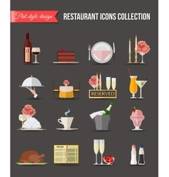 Restaurant icons set Flat style design vector