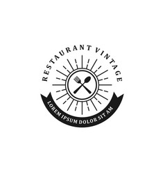 Restaurant logo - food drink product with spoon vector
