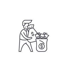rich man line icon sign on vector image