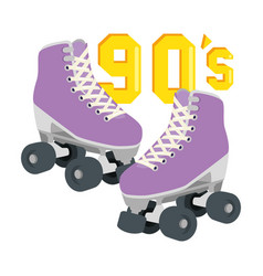 Roller skates nineties retro isolated icon vector