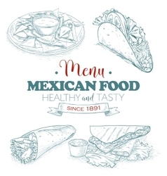 Scetch mexican food menu vector