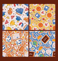 school supplies seamless pattern education vector image