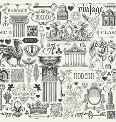 Seamless pattern with sketches in vintage style vector