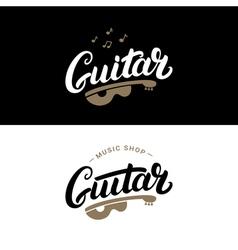 set guitar shop hand written lettering logos vector image