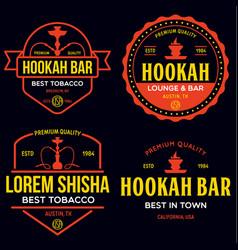 Set hookah labels badges and design elements vector
