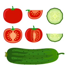 set of vegetables - tomato and cucumber in flat vector image