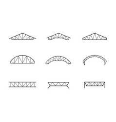 silhouette of roofing steel frame set of truss vector image