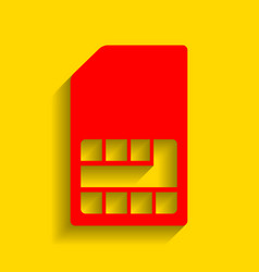 sim card sign red icon with soft shadow vector image