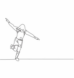 Single continuous line drawing young sporty vector