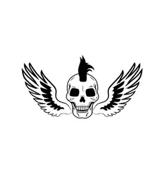 skull and wings image on vector image